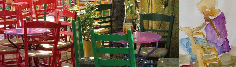 Griechenland Malreise und kreative Kunstkurse auf die Sonneninsel. hier wird gemalt und gezeichnet, am Strand oder auf tour.