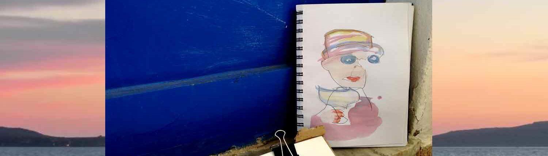 Griechenland Malkurs und kreative Reise auf die Sonneninsel. hier wird gemalt und gezeichnet, am Strand oder auf unseren Malausflügen.