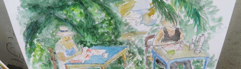 Auf unserer jährlichen Malreise nach Griechenland erlernen wir das Zeichnen und Malen mit unterschiedlichem Material